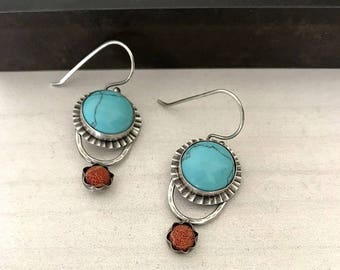Gipsy Style  Earrings, Turquoise Silver Earrings, Bohemian Earrings, Turquoise and Coral earrings, Tribal Jewellery