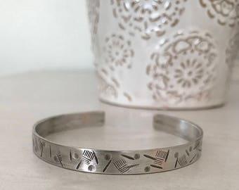 Mens Silver Bracelet, Stamped Bracelet, Bracelet for Him, Cuff Bracelet Silver, Silver Cuff For Man