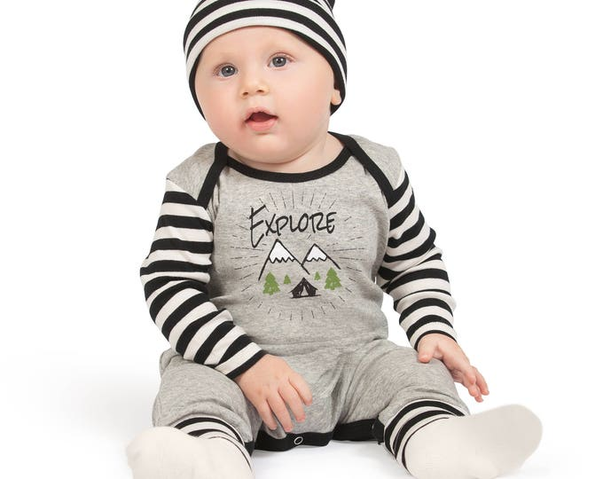 Baby Boy Coming Home Outfit, Newborn Boy Take Home Romper, Boy Baby Bodysuit, Ivory Long Sleeve Romper, Explore, TesaBabe