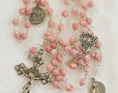 Rosary - Pink Czech Glass - Mary Magdalene & Sainte Maries - Sterling Silver