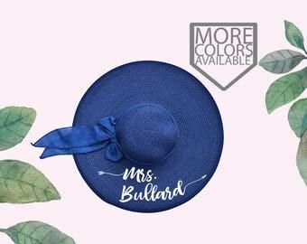 Mrs. Floppy Hat, Custom Floppy Hat, With Bow, Personalized Bride Gift, Mrs. Beach Hat, Honeymoon Beach Hat, Personalized Floppy Hat, Blue