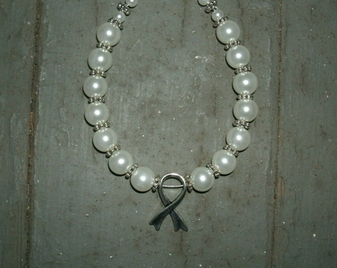 White Pearl Cancer Ribbon Bracelet; Example:November Pearl awareness, Lung cancer ribbon, awareness ribbon, custom colors also made just ask