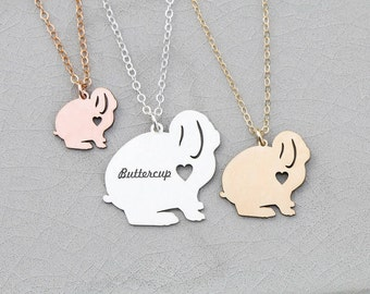 Rabbit Gift Bunny Lop Rabbit Necklace Bunny Silver Bunny Charm • Personalized Pet Bunny Rabbit Gift Loss Bunny Custom Bunny Gift