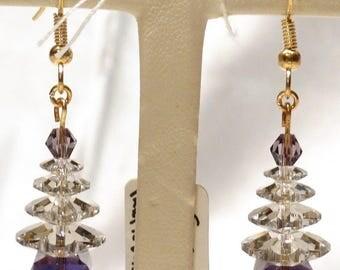 Purple Velvet Swarovski Crystal  Tree Earrings
