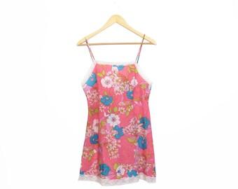 Vintage 60s Bright Neon Pink Floral Slip Dress Size S/M