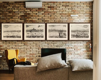 Vintage London prints 1616, Old view of London, 5 sizes up to 15 feet (450cm) wide London panorama in 1 or 4 parts - Limited Edition of 100