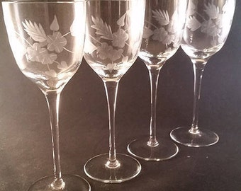 Set of 4 Etched Crystal Wine Glasses