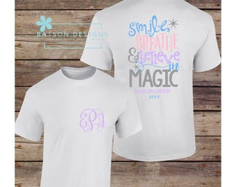 Personalized Family Vacation Shirts | Smile Breathe and Believe in Magic Beach Vacation Florida for  the family | Infant Toddler Youth Adult