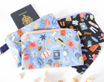 BON VAYAGE -BLUE Small Keychain Pouch for Travel. French-Style Travel Passport Pouch with Keychain. Purse Organizer. Cute Travel Organizer.