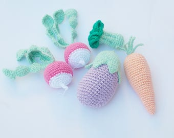 Crochet Baby Rattles Veggies, Pastel colors, crochet play food, newborn gift, nursery decor,baby shower gift,  Pretend  play, crochet toy