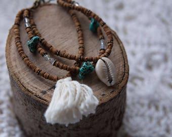 Boho Shell Tassel Beaded Bracelet Wooden Beads 3 in 1 Bracelet