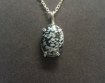 Wrapped Snowflake Obsidian Natural Stone Necklace