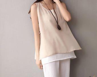 Women cotton and linen vest – wild loose cotton and linen vest