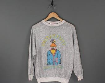 Vintage 80s Duck University Sweatshirt - 80s Uniducksity Varsity Club Sweatshirt - 80s Duck Cartoon Heather Grey Paper Thin 50/50 Sweatshirt