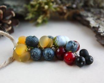 Lampwork pendant with blueberries, cloudberries, stone berries/ Glass Beads / Lampwork berries / Lampwork jewelry / Berry pendant