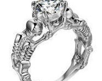 Skull Ring 925 Silver Skeleton w/ Topaz Stone Engagement Party Ring