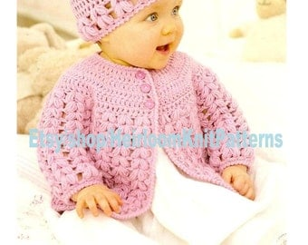 Crochet Baby Jacket and Hat DK Crochet Pattern 0-7yrs 16-26'' Baby Toddler Girls Crochet Cardigan Hat Instant Digital Download PDF - 729
