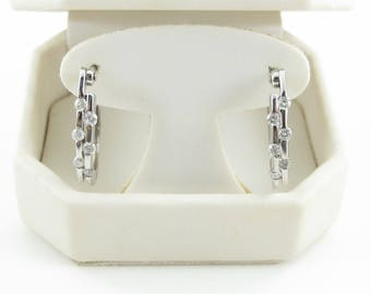 14k White Gold Diamond Hoop Earrings 0.50 carat - Diamond Huggie Earrings