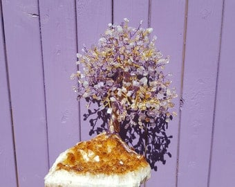 Amethyst Gem Tree, Crystal Cluster, Citrine Geode, Ametrine Gemstones, Semi-precious Stones, Rocks and Geodes, Golden Home Decor, Healing