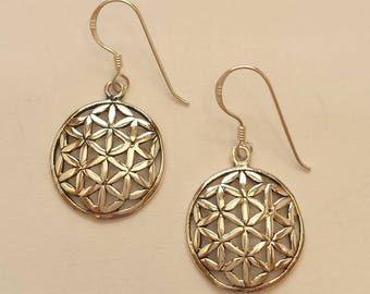 Beautiful Sterling Silver 925 Flower of Life Earrings - Sacred Geometry, Mystical, Esoteric, Spiritual - SS4