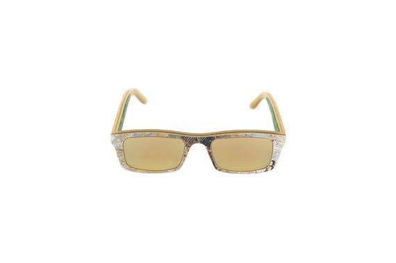 Lunettes de soleil 7PLIS #293 skateboard recyclé #CURB gold gris vert        verre gold catégorie 3