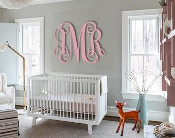 Monogram, Painted Wooden Monogram, Vine Script Monogram Initials, Nursery Monogram, Wedding Monogram,Script Monogram, Baby Name Letters