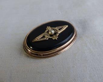 Vintage Sterling Silver 875 Brooch / art deco silver brooch / black brooch / gold plated / Vintage brooch pin / Russian jewelry