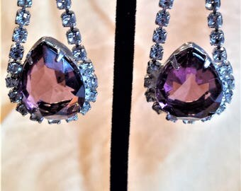 Purple and Clear Rhinestone Drop Earrings