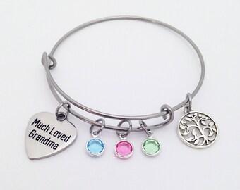 Grandma Family Bracelet, Mothers Day Gift for Grandma, Grandma Gift, Grandma Bracelet, Grandma Birthstone Bracelet, Grandma Mothers Day Gift