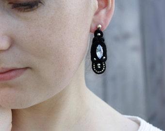 Gift|for|her Crystal stud earrings Blue crystal earrings Art deco earrings Black earrings Artisan earring Swarovski earring Soutache earring