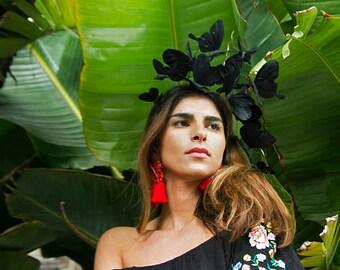 Black Butterfly Fascinator, Black Headpiece, Headdress, Headband, Derby, Elegant, Chic