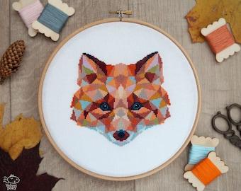 Fox Cross Stitch Pattern, Geometric Animals Cross Stitch, Cute Fox Embroidery, Nursery Wall Decor, Woodland, PDF Format, Instant Download