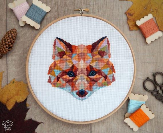 Fox cross stitch pattern geometric animals