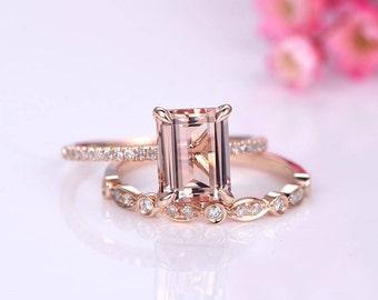 Morganite ring set emerald cut morganite engagement ring half eternity diamond band diamond stacking ring14k rose gold bridal ring set