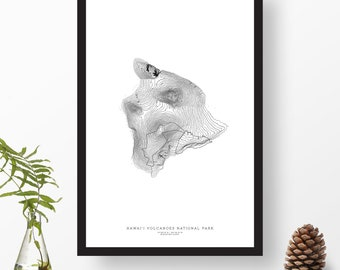 Hawai'i Volcanoes National Park, Hawaii | Topographic Print, Contour Map, Map Art | Home or Office Decor, Gift for Volcano Lover