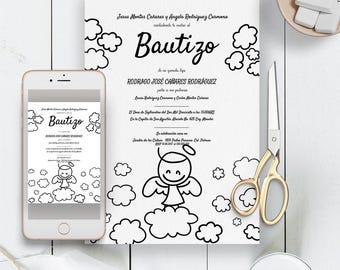 Bautizo invitations, baptism invitation, invitations de bautizo unisex, spanish baptism invitation invitacion bautizo boy, bautizo girl