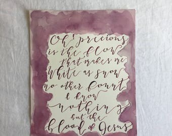 Calligraphy Watercolor Print Hymn Nothing But the Blood 9 x 12 Maroon