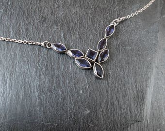 Sterling Silver Amethyst Bib Necklace - Vintage