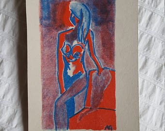 Original Risoprint Woman postcard