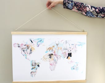 A2 - Stay Wild - Animal World Map print by Hannah Wetzler Art