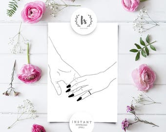Printable Minimalistic Valentines Gift Card | Printable Art Decor | Couple Holding Hands