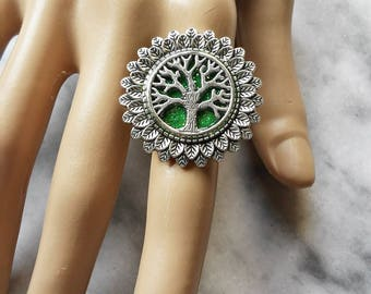 ring tree of life leaves one size adjustable wicca celtic pagan occult magic druid witch witchy esoteric green forest woodland