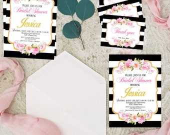 PRINT INVITATIONS,Kate spade Bridal Shower Invitation, Black and White Striped Invitation, Black and Pink Invitations, Gold Glitter,gold