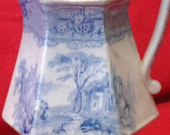 Blue and White Ironstone Pitcher Tessino  J. Clementson 1800's