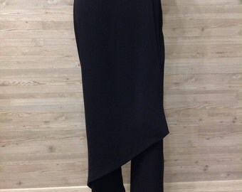 SALE,Skirt Pants long Black Front Skirt Trousers long back long pants Evening Party Business Designer luxury High Fashion Hand made.size M/L