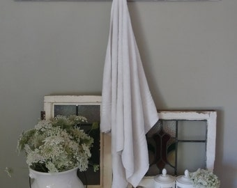 Farmhouse Vintage Towel Rack- Architectural Salvage -Entry Coat Rack -Antique Oak-Bathroom Towel-Repurposed  Architecture-Distressed Paint