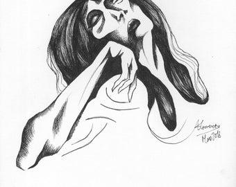 Dead Girl's Face - Original Drawing by Alexandre Conversin