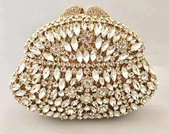 Gold Clutch, Crystal Clutch, Bridal Clutch, Wedding Clutch, Prom Clutch, Bridesmaid Clutch, Evening Clutch Bag, Purse, Gift for Her
