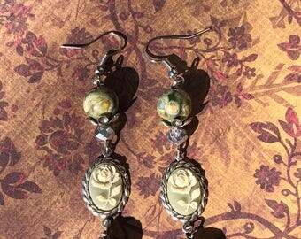 Natural Stone Green Rose Rhyolite Dangle Earrings