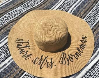 CUSTOM embroidered floppy sun hat